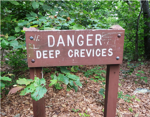 Danger - Deep Crevices sign at Wolf Rock at Catoctin Mountain Park