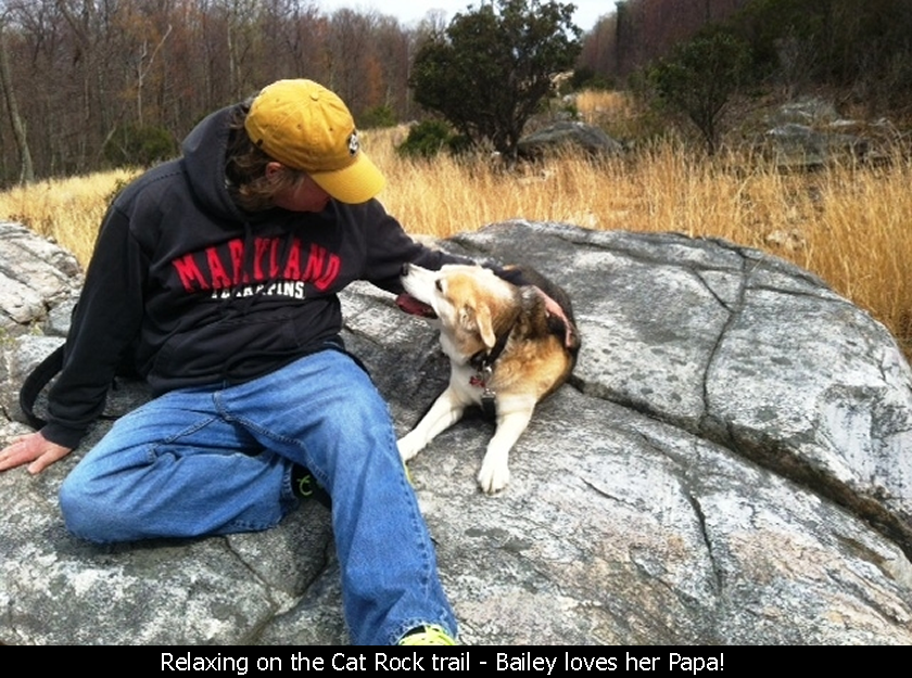 Relaxing on the Cat Rock trail - Bailey loves her Papa!