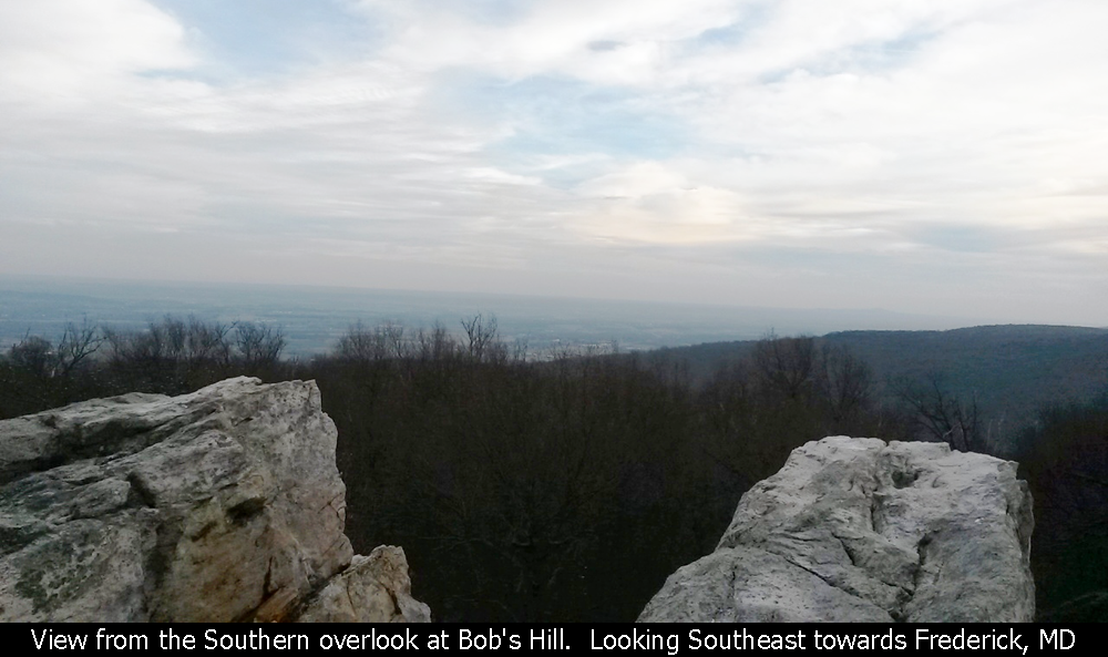 View from the Southern overlook at Bob's Hill.  Looking Southeast towards Frederick, MD