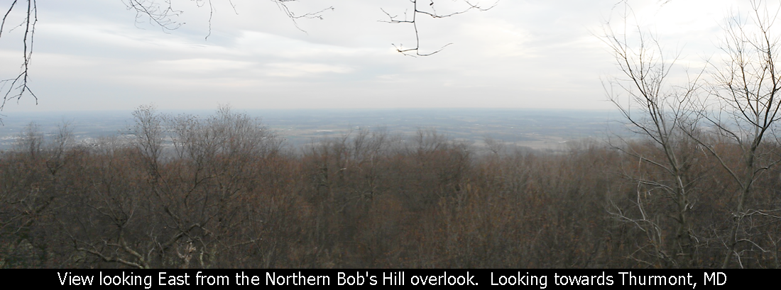 View looking East from the Northern Bob's Hill overlook.  Looking towards Thurmont, MD