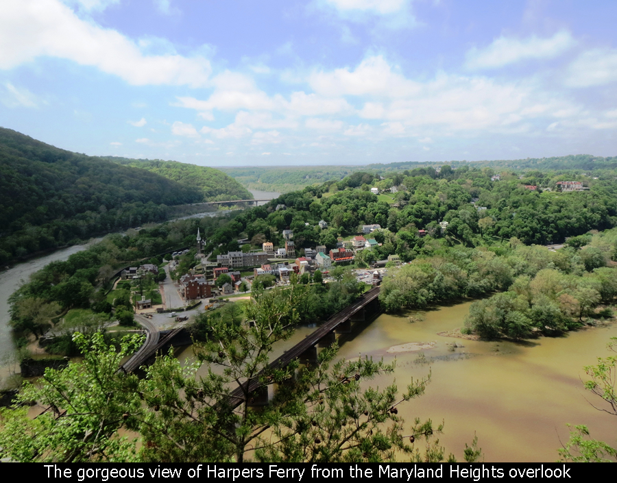 The gorgeous view of Harpers Ferry from the Maryland Heights overlook