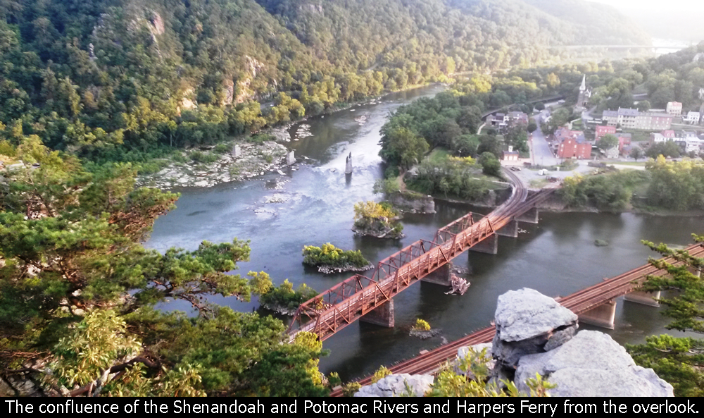 The confluence of the Shenandoah and Potomac Rivers and Harpers Ferry from the overlook