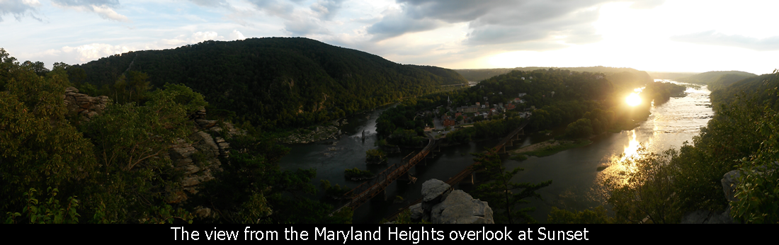 The view from the Maryland Heights overlook at Sunset
