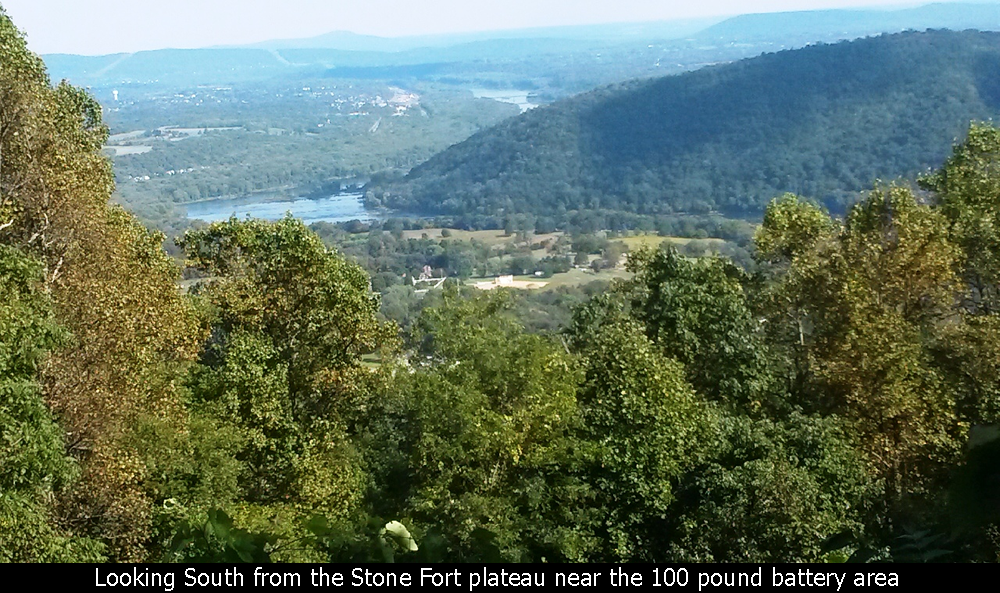 Looking South from the Stone Fort plateau near the 100 pound battery area