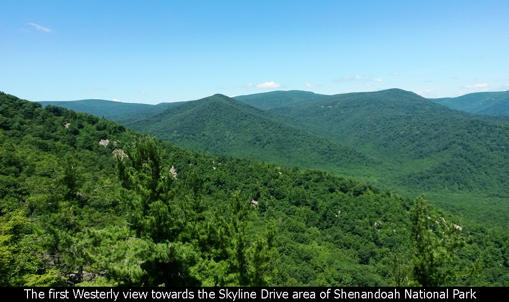 The first Westerly view towards the Skyline Drive area of Shenandoah National Park