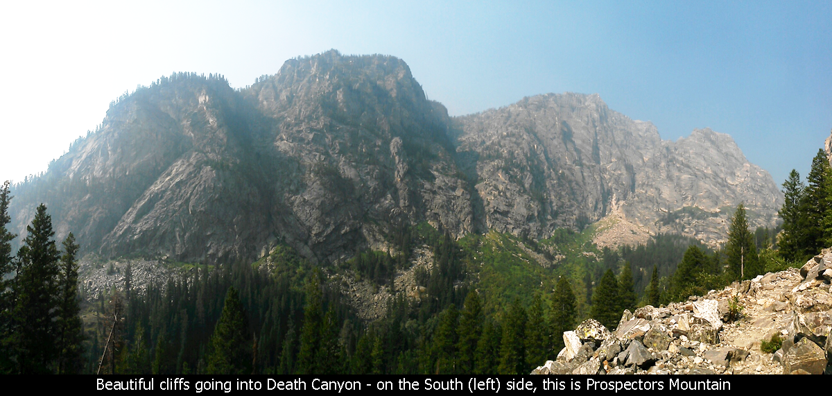 Beautiful cliffs going into Death Canyon - on the South (left) side, this is Prospectors Mountain