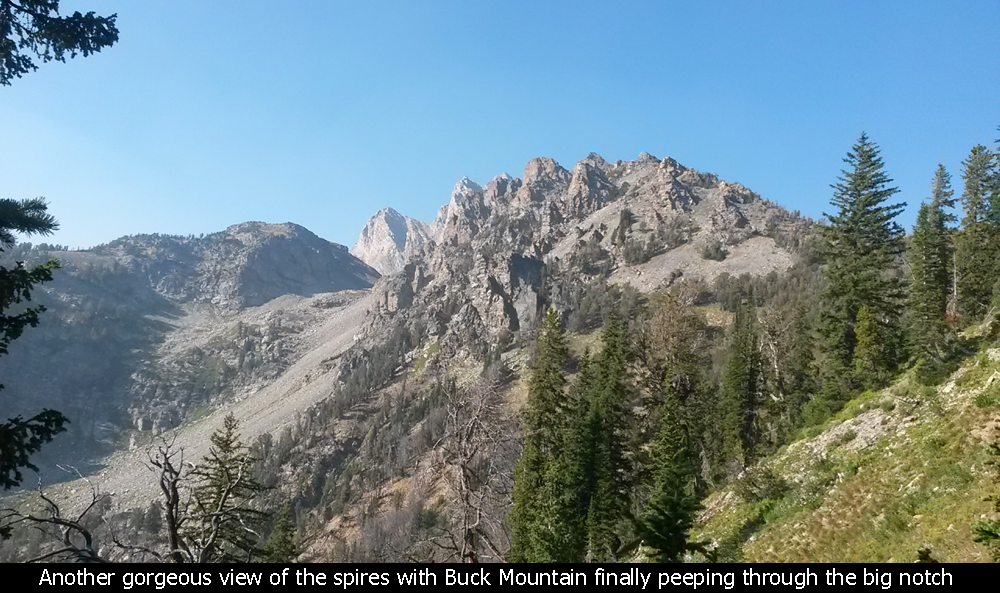 Another gorgeous view of the spires with Buck Mountain finally peeping through the big notch