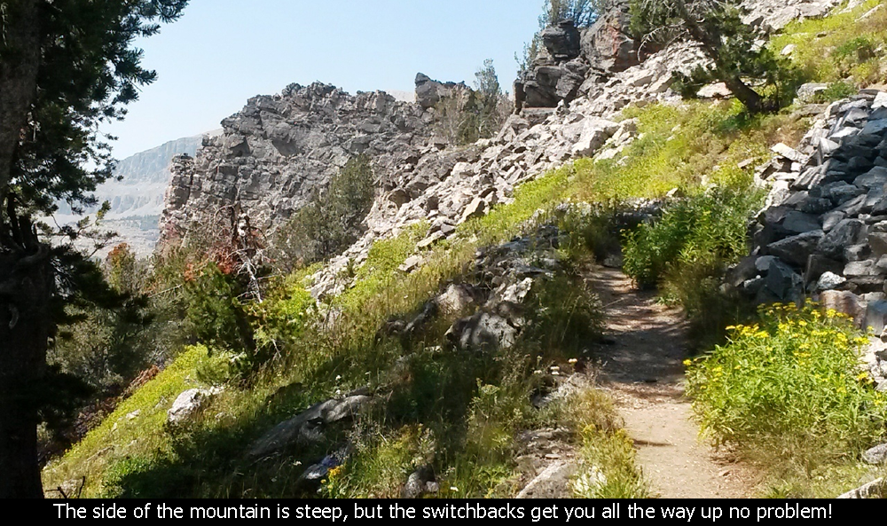 THe side of the mountain is steep, but the switchbacks get you all the way up no problem!