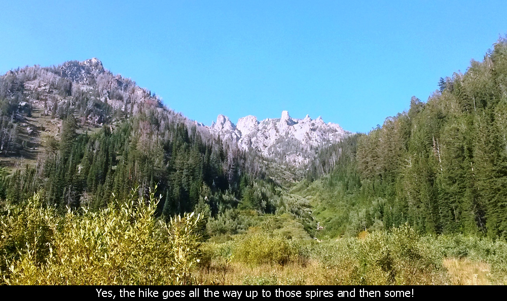 Yes, the hike goes all the way up to those spires and then some!