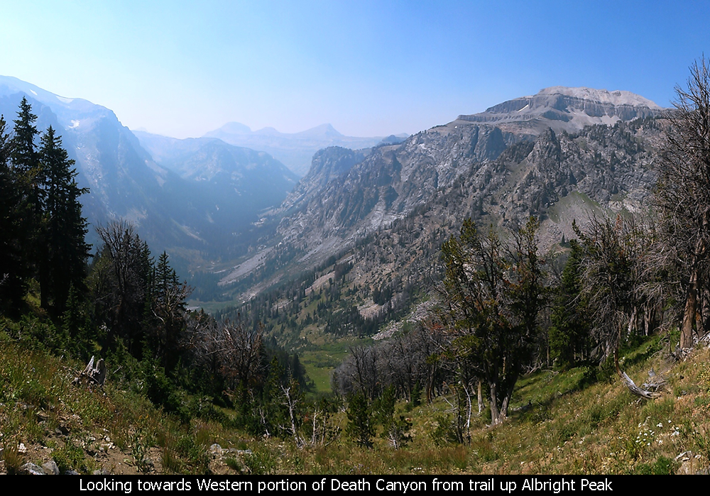 Looking towards the Western portion of Death Canyon from the trail up Albright Peak