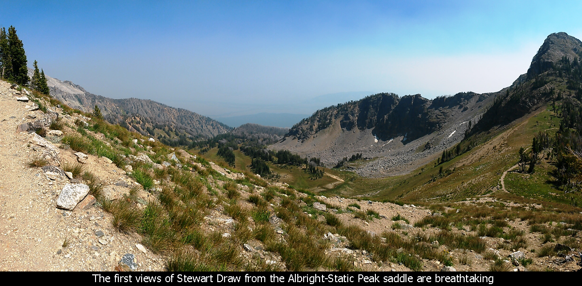 The first views of Stewart Draw from the Albright-Static Peak saddle are breathtaking