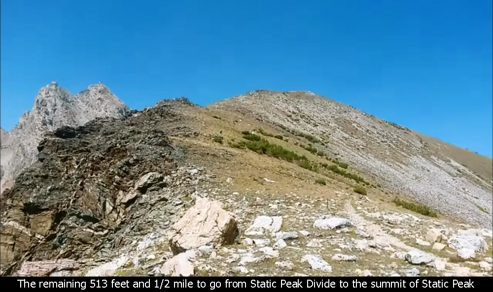 The remaining 513 feet and 1/2 mile to go from Static Peak Divide to the summit of Static Peak