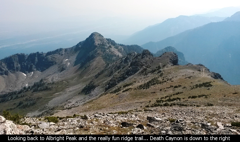 Looking back to Albright Peak and the really fun ridge trail... Death Canyon is down to the right