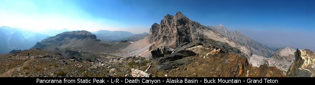 Panorama from Static Peak - L-R - Death Canyon - Alaska Basin - Buck Mountain - Grand Teton