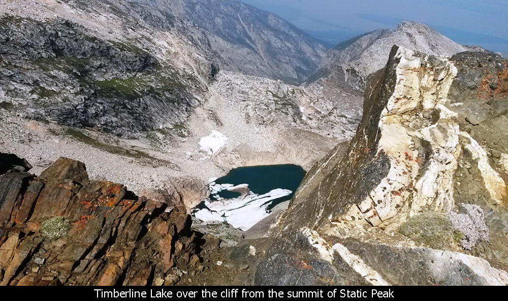Timberline Lake over the cliff from the summit of Static Peak