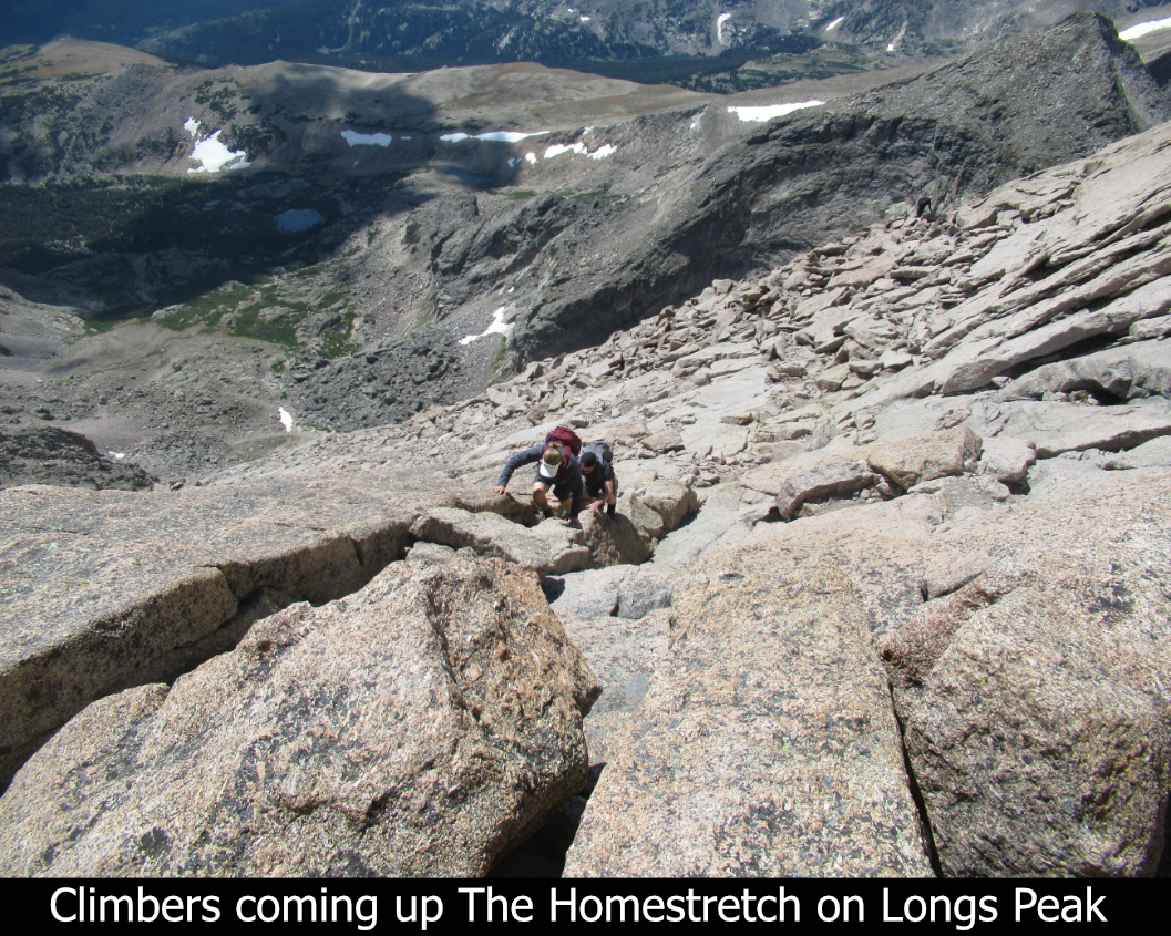 Climbers On The Homestretch On Longs Peak