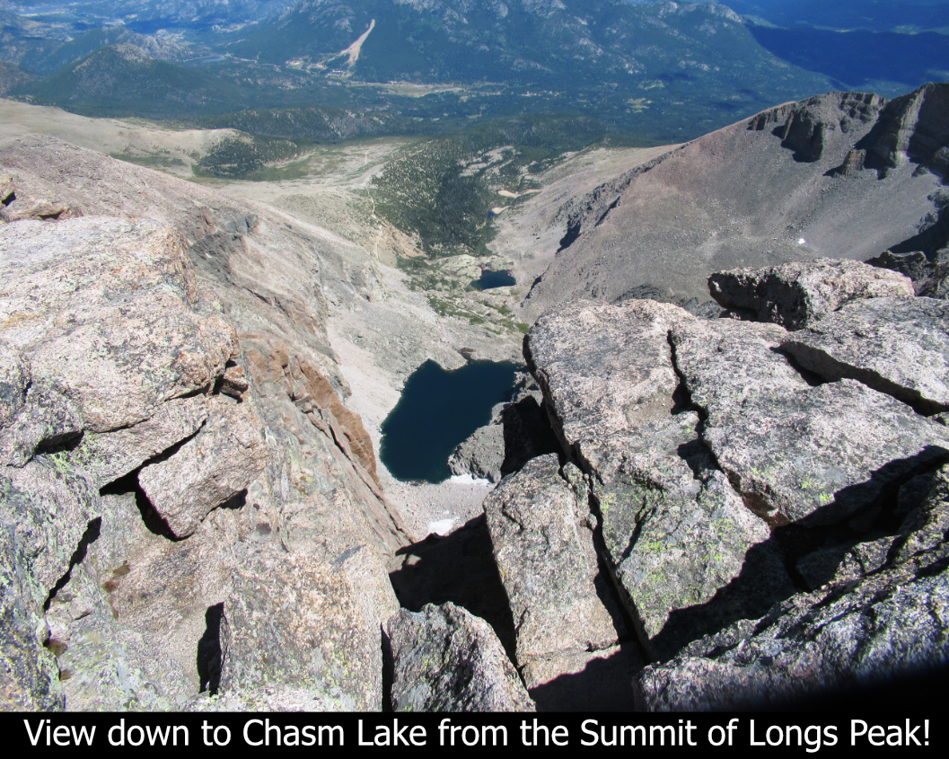 View To Chasm Lake From Summi tOf Longs Peak